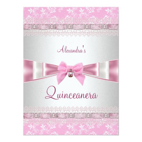 Quinceanera 15th Birthday Party Pink White Floral 17 Cm X 22 Cm Invitation Card