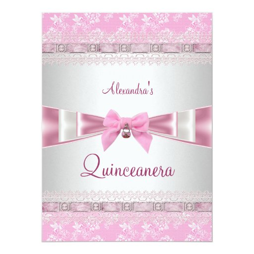 Quinceanera 15th Birthday Party Pink White Floral 6.5x8.75 Paper Invitation Card