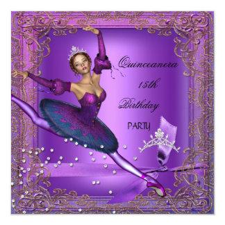 Quinceanera 15th Birthday Party Purple Ballerina 2 Card