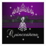 Quinceanera 15th Birthday Party Purple Black Personalized Invitation