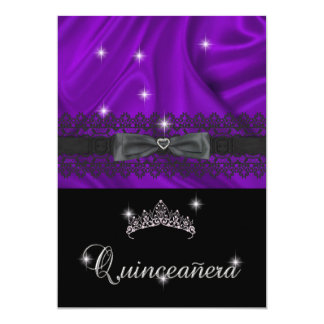 Quinceanera 15th Birthday Party Purple Silk 13 Cm X 18 Cm Invitation Card