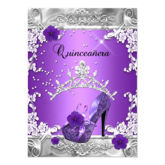 Quinceanera 15th Birthday Party Purple Silver Card