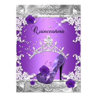 Quinceanera 15th Birthday Party Purple Silver 14 Cm X 19 Cm Invitation Card
