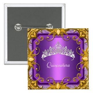 Quinceanera 15th Birthday Party Purple Tiara 15 Cm Square Badge