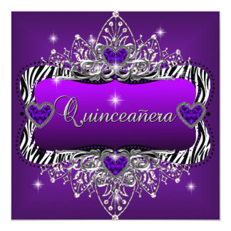 Quinceanera 15th Birthday Party Purple Zebra Black Card