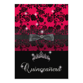 Quinceanera 15th Birthday Party Red Black Lace Card