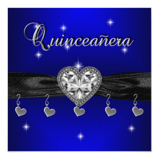 Quinceanera 15th Birthday Party Royal Blue Black Card