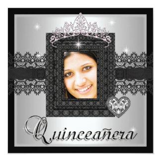 Quinceanera 15th Birthday Party Silver Black Lace 13 Cm X 13 Cm Square Invitation Card
