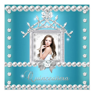 Quinceanera 15th Birthday Party Teal Blue Card