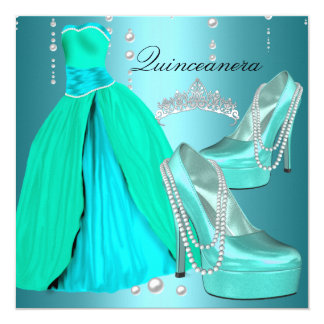 Quinceanera 15th  Birthday Party Teal Blue Dress Card