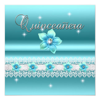 Quinceanera 15th Birthday Party Teal Blue Floral Card