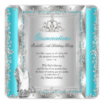 Quinceanera 15th Birthday Party Teal Silver Shoes 13 Cm X 13 Cm Square Invitation Card