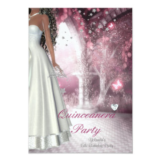 Quinceanera 15th Birthday Party White Dress Card