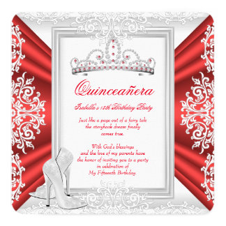 Quinceanera 15th Birthday Party White Red Card