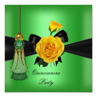 Quinceanera 15th Birthday Party Yellow Lime Green 13 Cm X 13 Cm Square Invitation Card