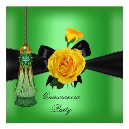 Quinceanera 15th Birthday Party Yellow Lime Green Invites