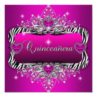Quinceanera 15th Birthday Party Zebra Pink Black Card