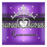 Quinceanera 15th Birthday Party Zebra Purple Black Personalised Announcements