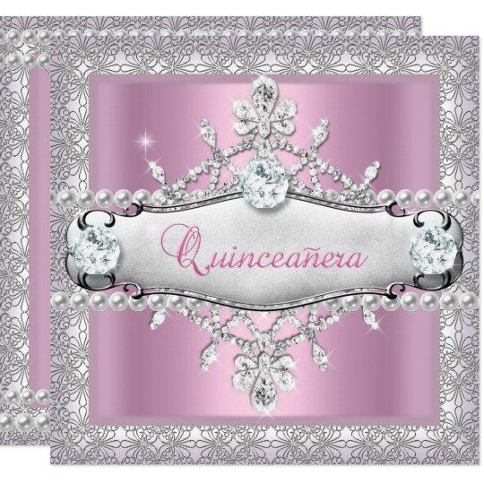 Quinceanera 15th Birthday Pink Diamond Tiara Card