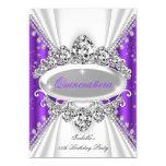 Quinceanera 15th Birthday Princess Purple Tiara 13 Cm X 18 Cm Invitation Card
