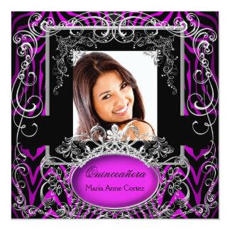 Quinceanera 15th Birthday Purple Black White Zebra Announcements