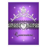 Quinceanera 15th Birthday Zebra Purple Black 2 Personalized Announcement