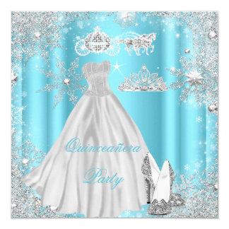 Quinceanera 15th Cinderella Blue Birthday Party 13 Cm X 13 Cm Square Invitation Card