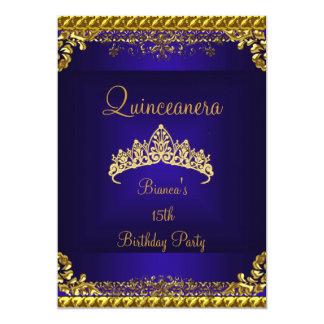 Quinceanera 15th Deep Blue Gold Diamond Tiara Card