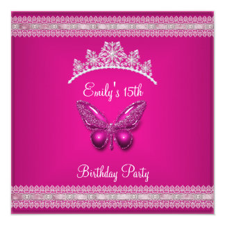 Quinceanera 15th Fushia Pink Tiara Butterfly Card