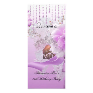 Quinceanera 15th Lilac Pink Floral White Rack Card Template