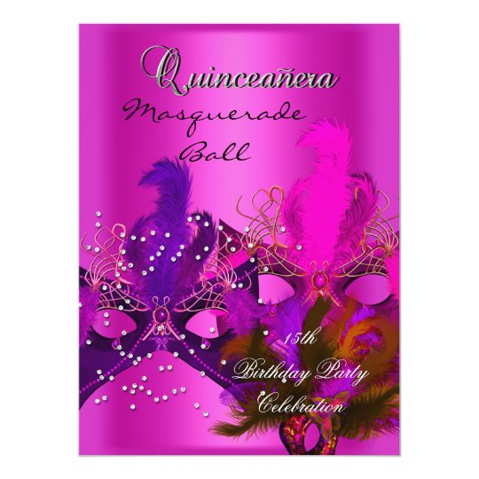 Quinceanera 15th Masquerade Hot Pink Masks Big Card