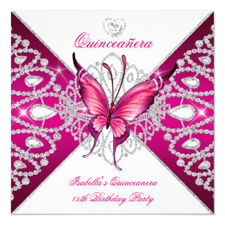 Quinceanera 15th Party Dark Pink Butterfly Tiara 13 Cm X 13 Cm Square Invitation Card