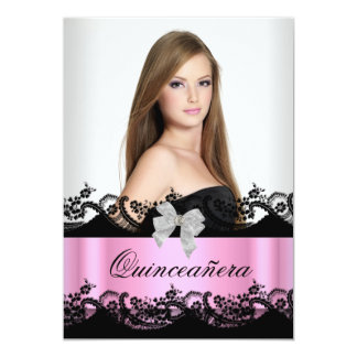 Quinceanera 15th Pink Black White Lace Photo 13 Cm X 18 Cm Invitation Card