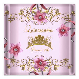 Quinceanera 15th Pink Flowers Gold Tiara Card