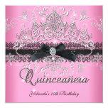 "Quinceanera 15th Pink Glitter Tiara Black Bow 5.25"" Square Invitation Card"