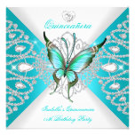 Quinceanera 15th Pretty Teal Blue Butterfly Tiara