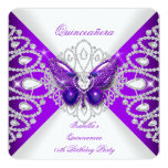 Quinceanera 15th Purple Butterfly Tiara Party 2 13 Cm X 13 Cm Square Invitation Card