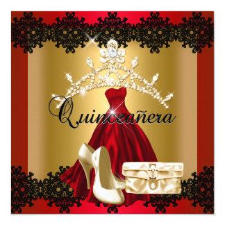 Quinceanera 15th Red Black Gold Diamond Tiara 5.25x5.25 Square Paper Invitation Card