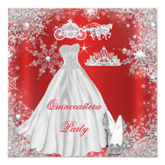 """Quinceanera 15th Regal Red Birthday Party 5.25"""" Square Invitation Card"""
