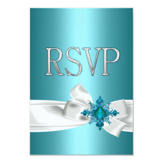 Quinceanera 15th Teal Blue Silver White Bow RSVP Custom Invitation