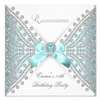 Quinceanera 15th Teal Blue White Faux Diamond Card