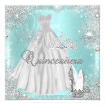 Quinceanera 15th Teal Silver Birthday Party 13 Cm X 13 Cm Square Invitation Card