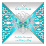 Quinceanera 15th Teal Silver Butterfly Tiara 2 13 Cm X 13 Cm Square Invitation Card