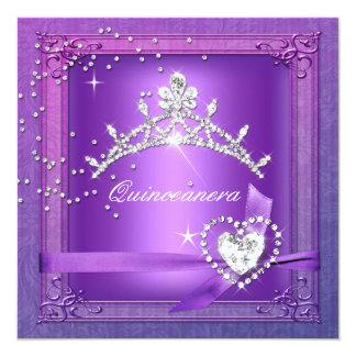 Quinceanera 15th Tiara Purple 15 Birthday Party Card