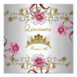 Quinceanera 15th White Pink Flowers Gold Tiara Personalized Announcements