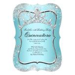Quinceanera 15th Winter Wonderland Silver Blue 13 Cm X 18 Cm Invitation Card
