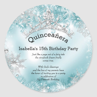 Quinceanera 15th Winter Wonderland Silver Teal 2 Classic Round Sticker