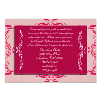 Quinceanera Accommodations Cards 9 Cm X 13 Cm Invitation Card