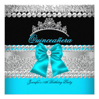 Quinceanera Aqua Blue Diamond Lace Birthday Party Custom Invitation
