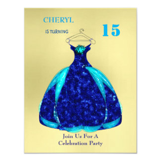 Quinceanera Ball Gown Birthday Party 11 Cm X 14 Cm Invitation Card